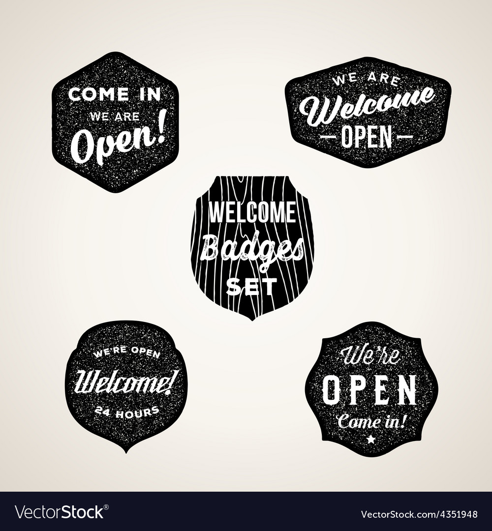 Retro welcome and open signs or labels textured vector