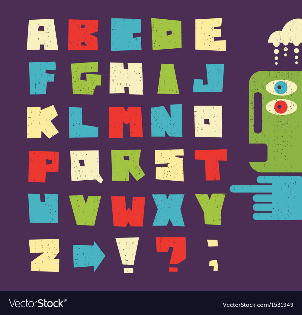 Alphabet letters in retro style vector