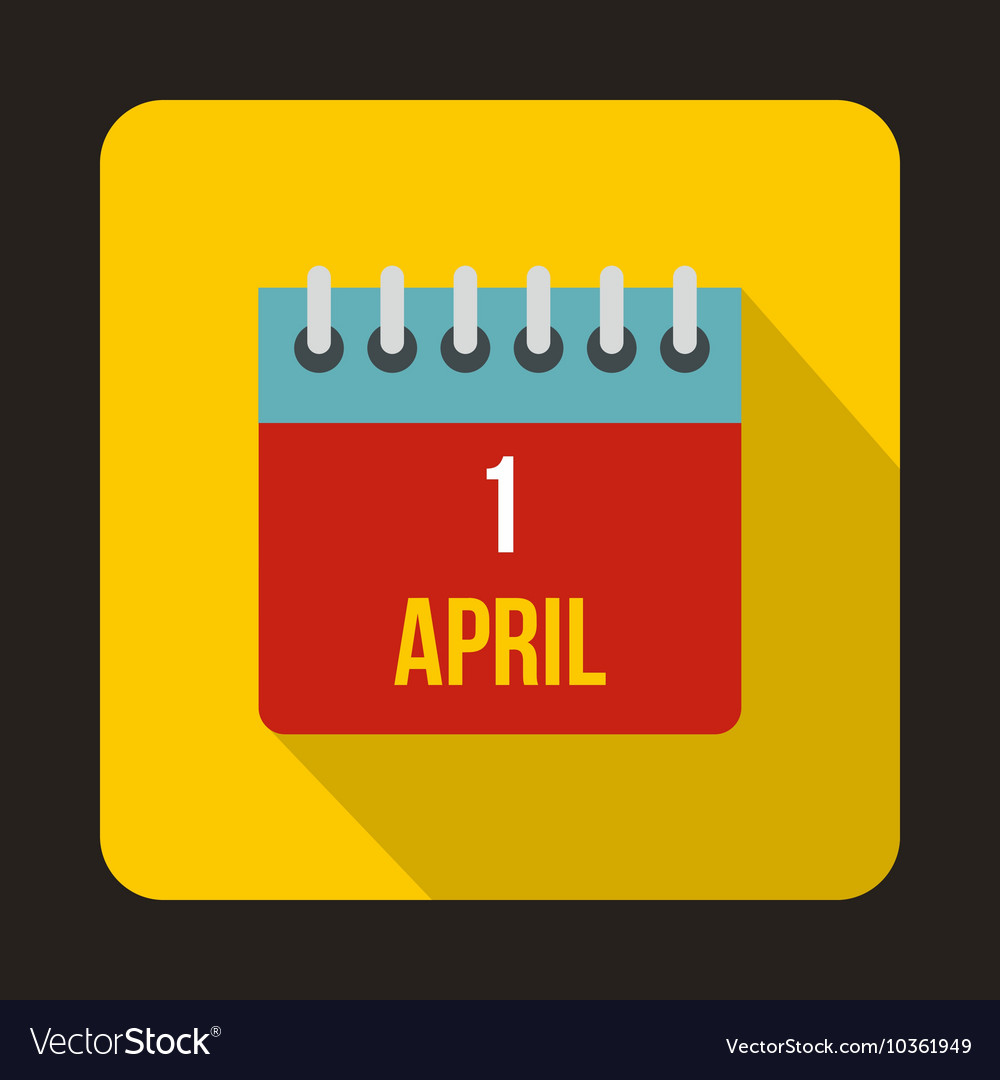 April 1 april fools day calendar icon flat style vector