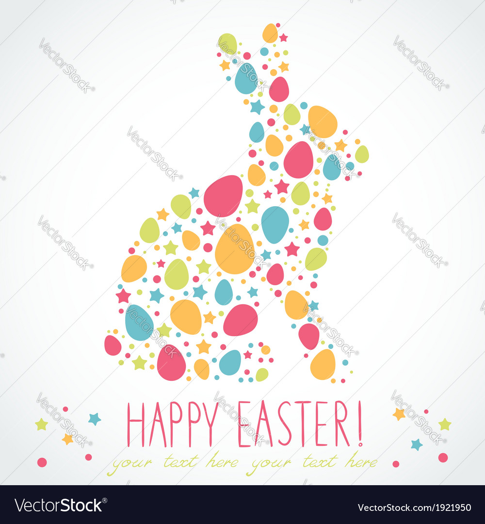 Easter bunny silhouette card vector