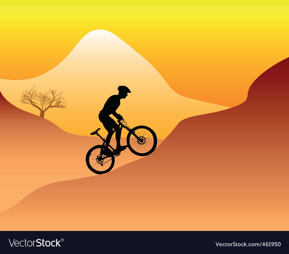 Mountain biker riding down hill vector