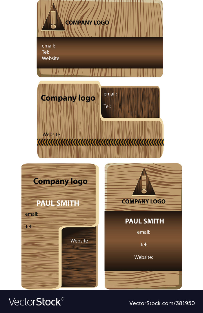 Wood business cards vector
