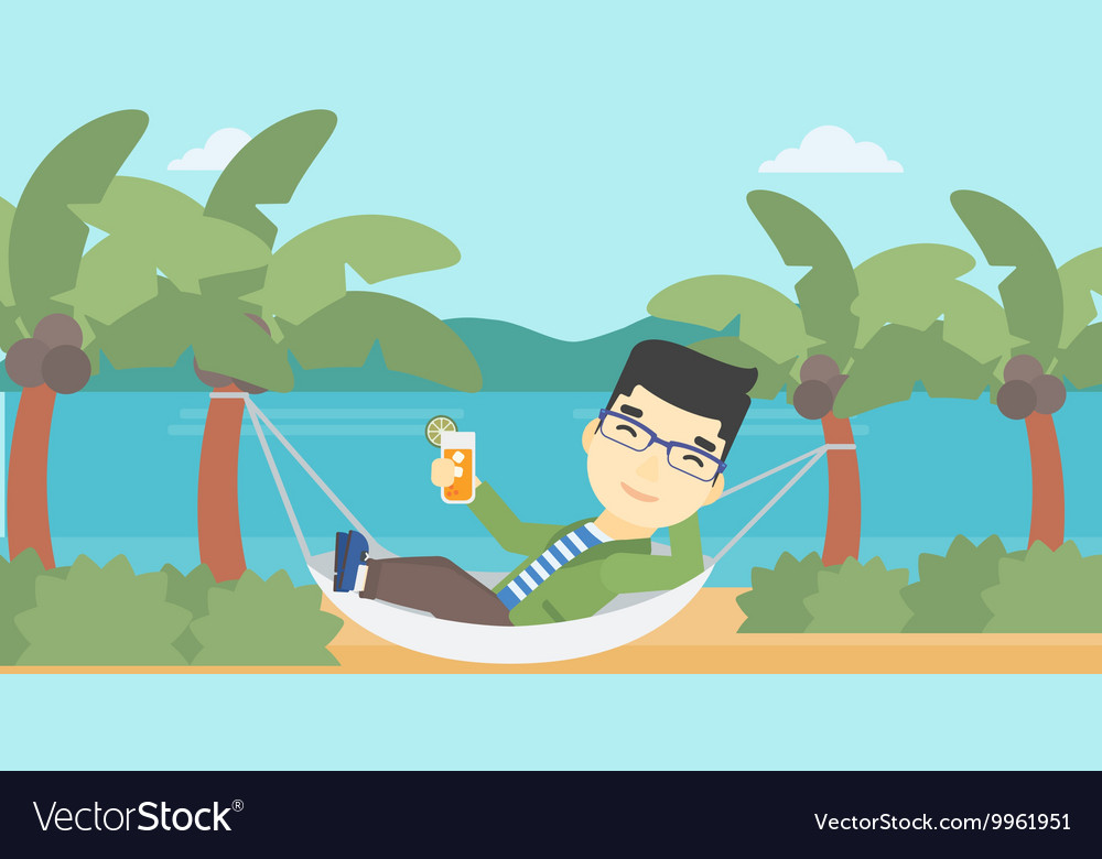 Man chilling in hammock with cocktail vector