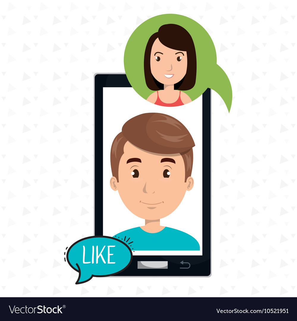 Smartphone man speak friend vector