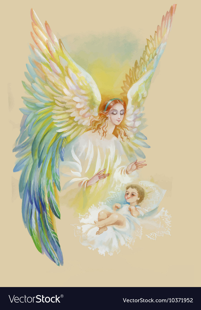 Beautiful angel with wings flying over child vector