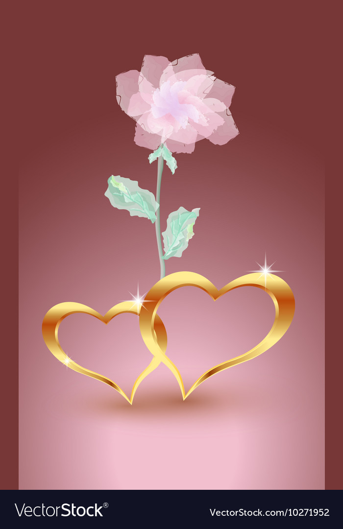 Gold jewelry hearts with rose vector
