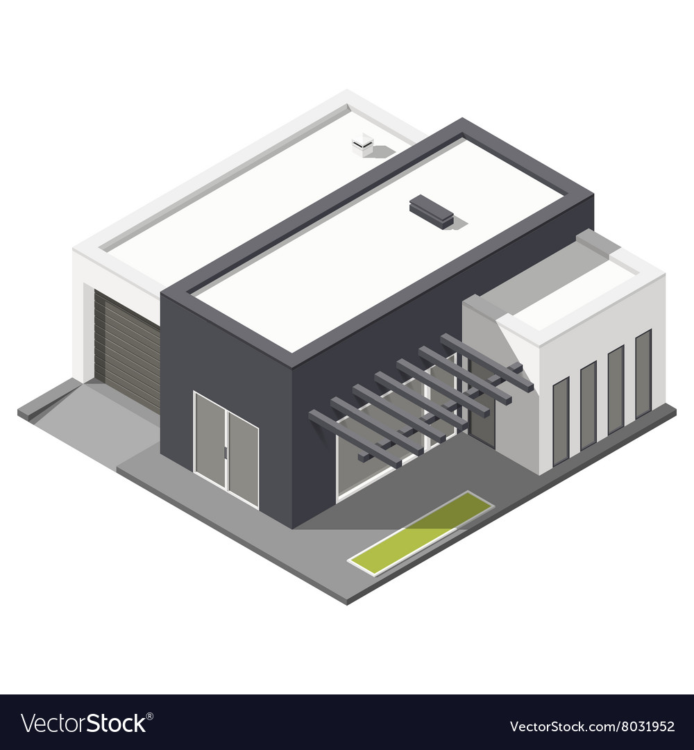 Onestorey house with flat roof isometric icon set vector