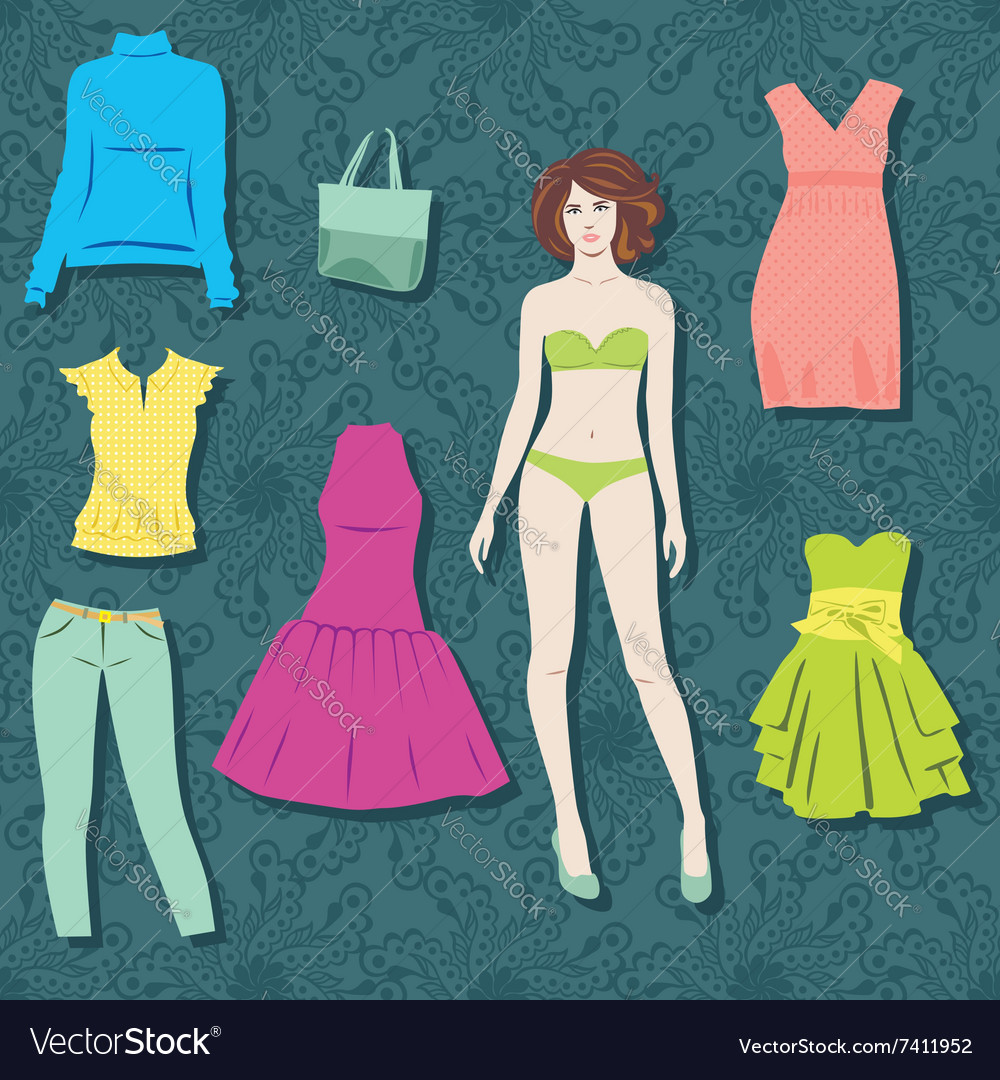 Paper doll with set of cloths vector