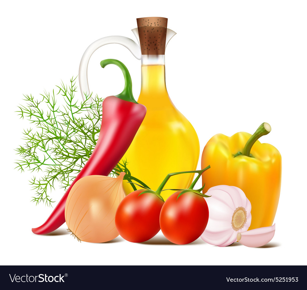 Still life in vegetables vector