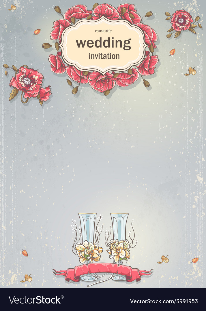 Wedding invitation with a picture of wedding vector