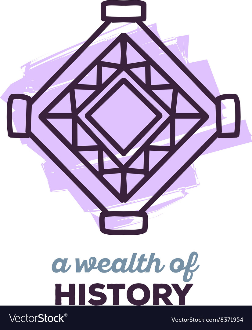 Ethnic tribal purple color amulet sigh wi vector