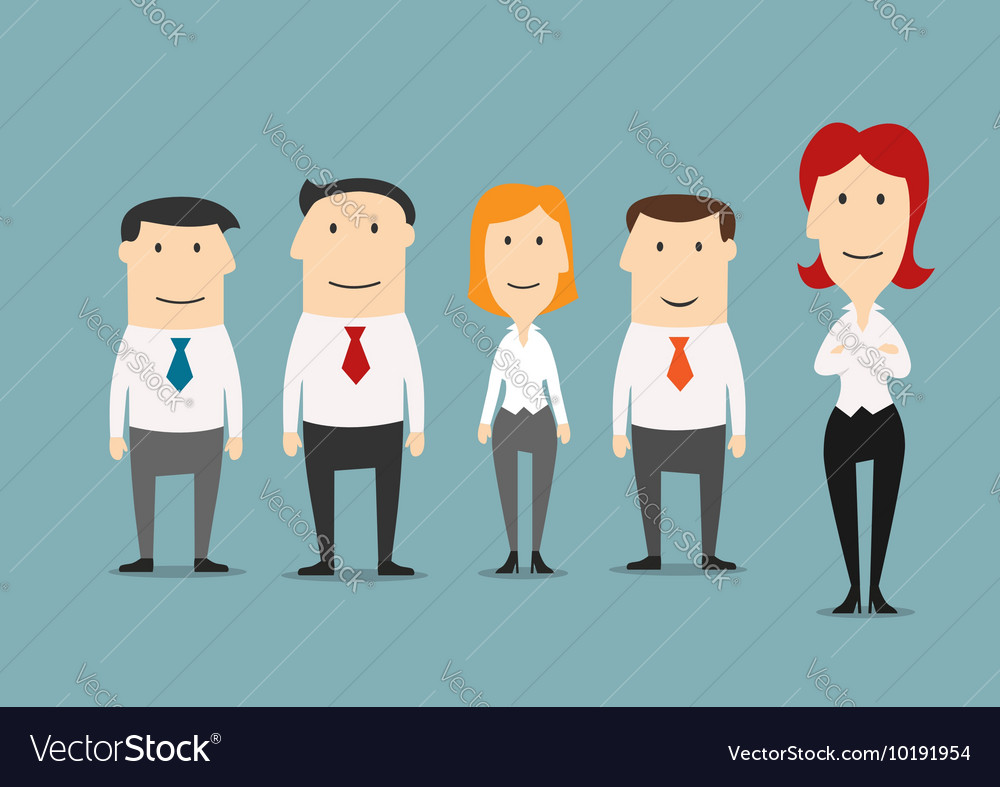 Female boss standing with her business team vector