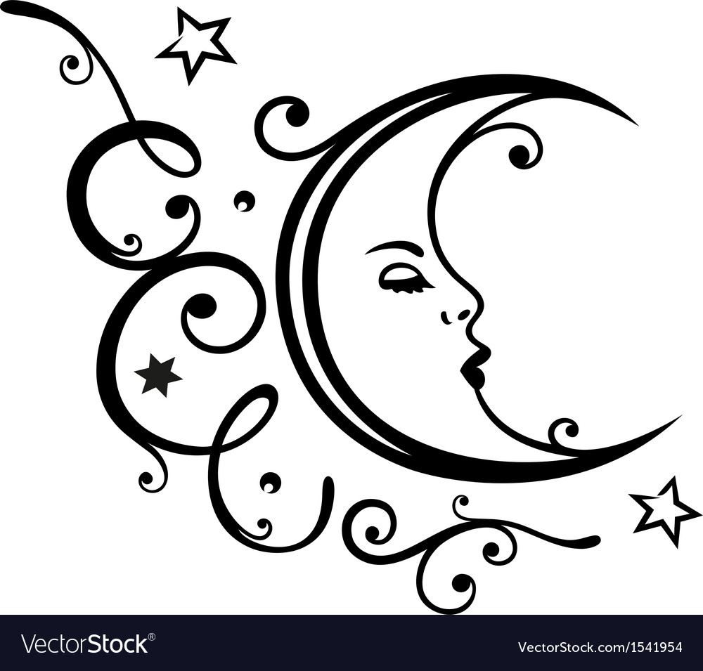 Moon stars sleep dream vector
