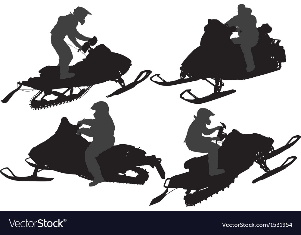 Snowmobiling silhouette vector