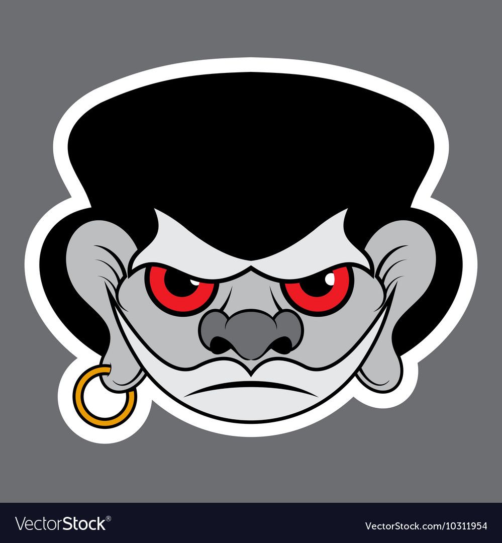 Sticker  evil pirate with red eyes and earrings vector