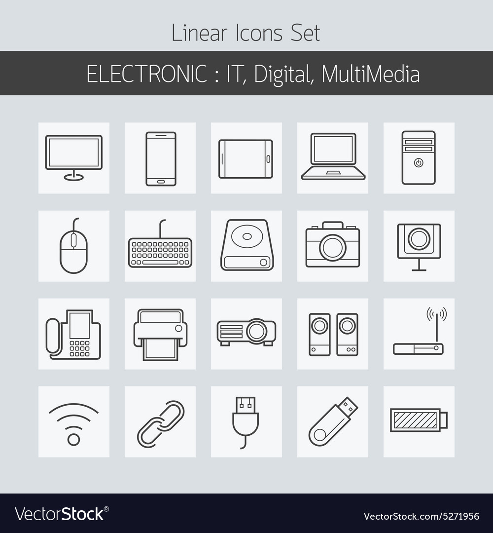 Electronic it digital equipment and devices icons vector