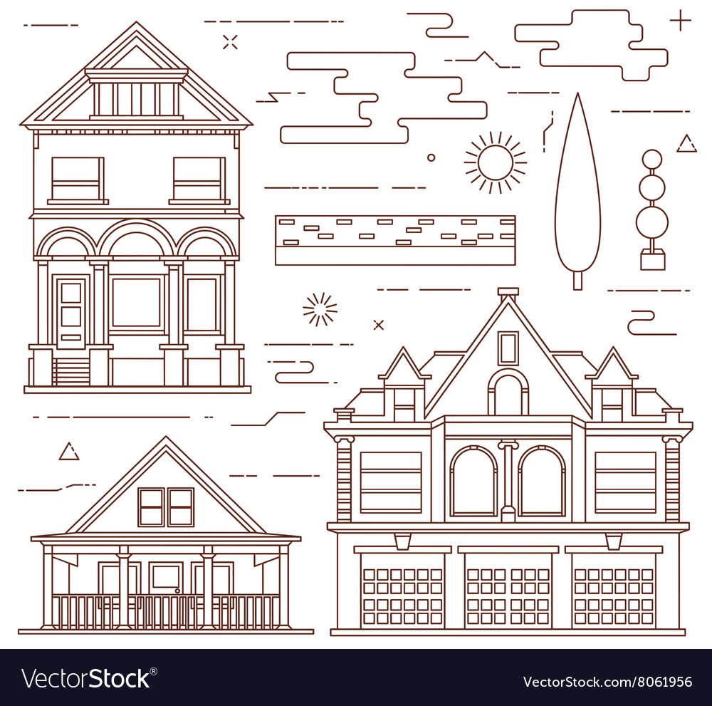 Flat set urban and village elements vector