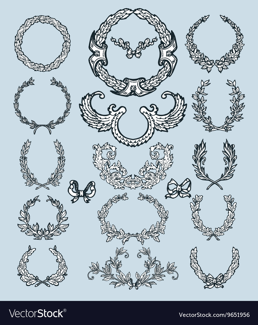 Laurel wreath set decorative elements vector