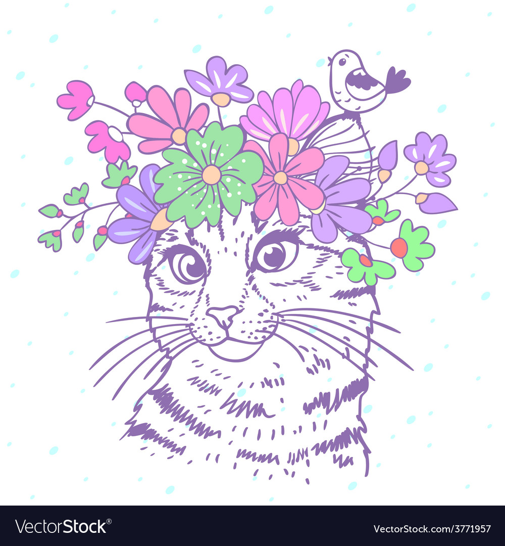 Cat with wreath vector