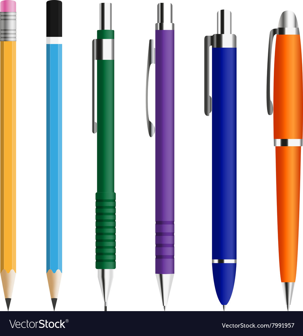 Set of pens and pensils vector