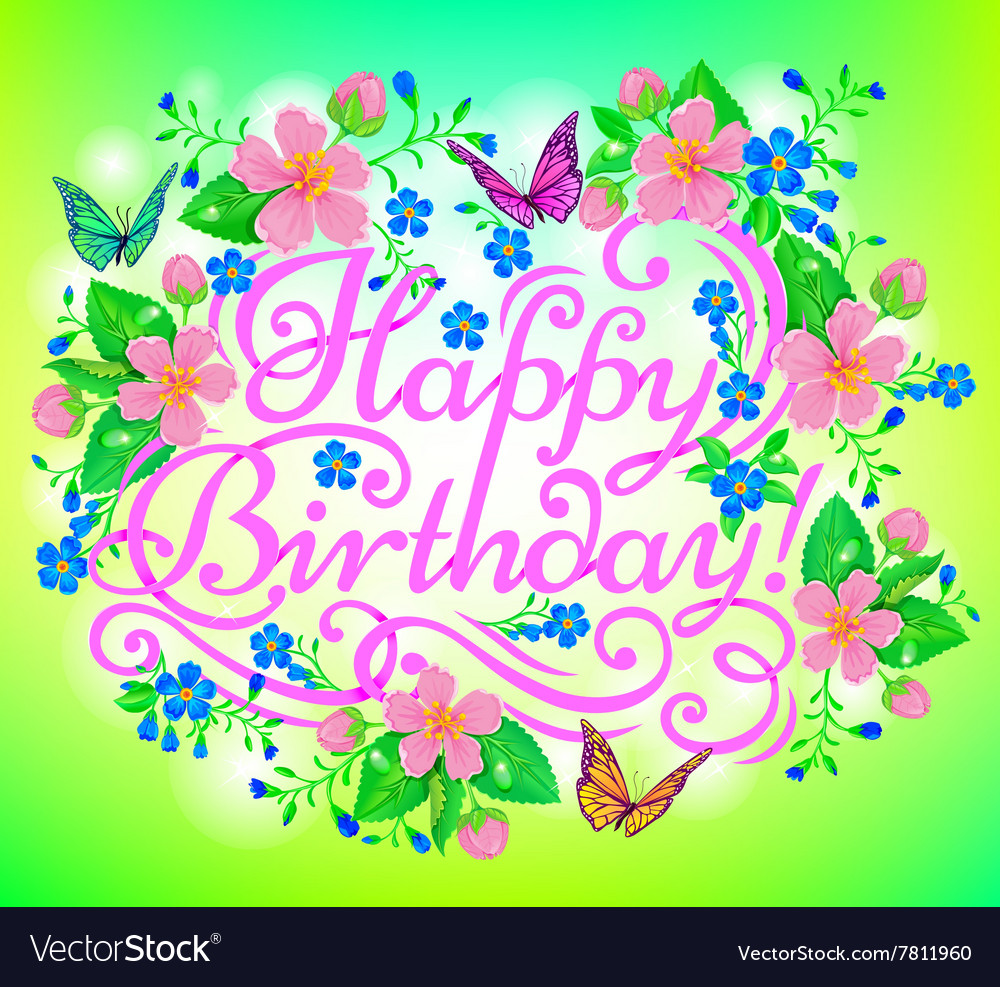 Birthday flowers greeting vector