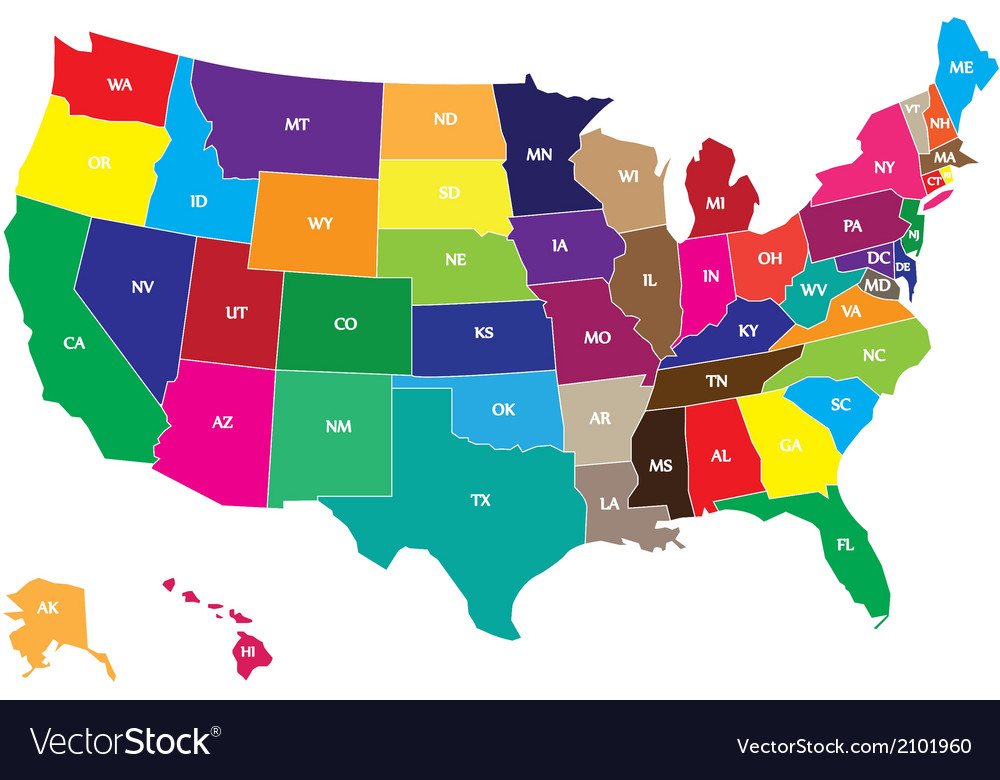 Color usa map vector