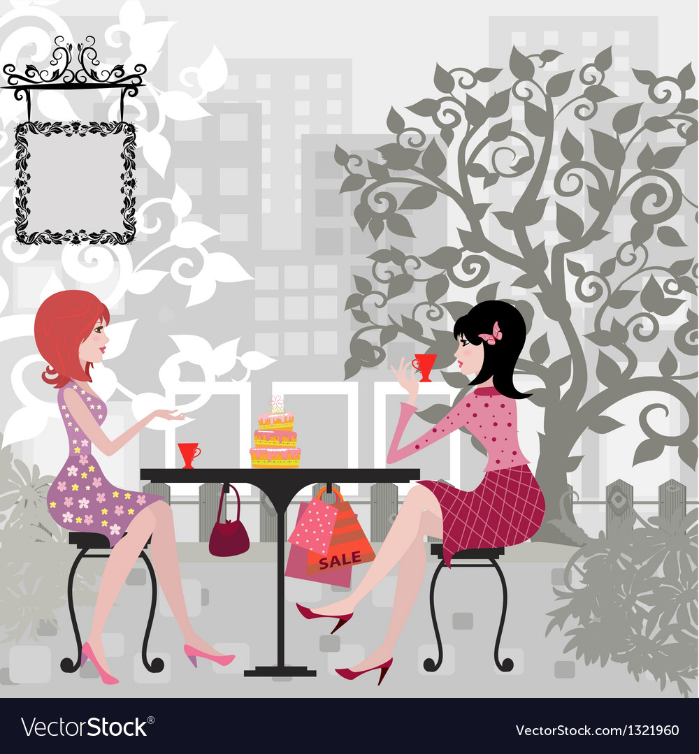 Floral girls cafe vector