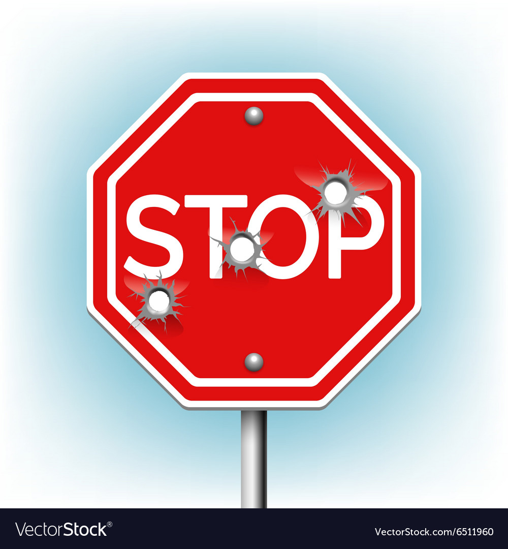 Stop sign with bullet holes vector