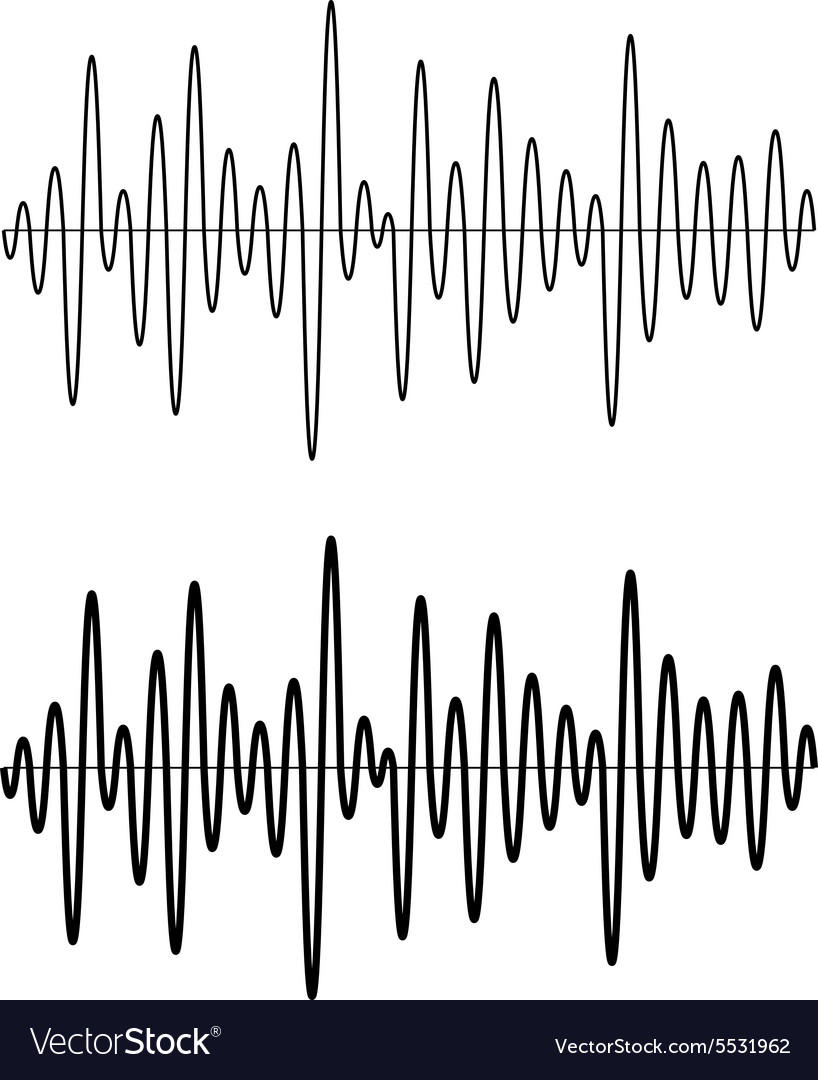 Black seamless sinusoidal sound wave lines vector