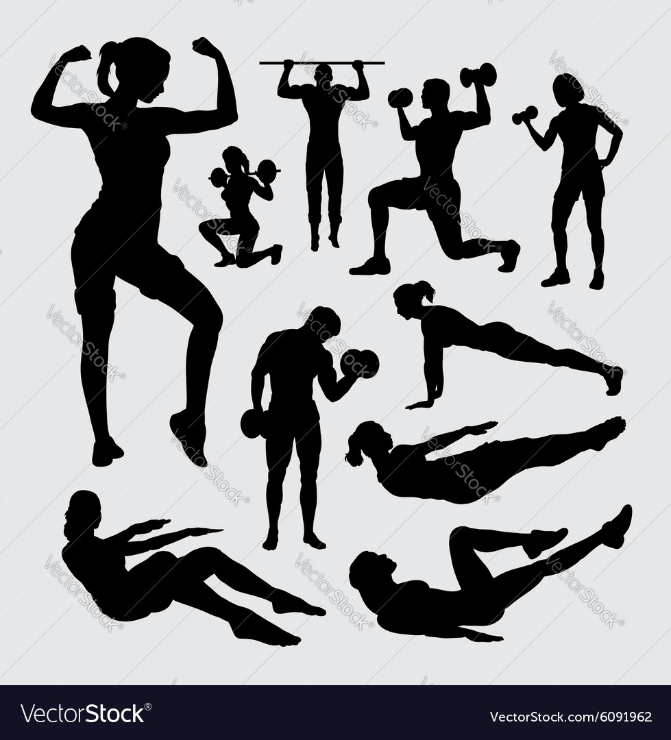 Fitness sport male and female silhouette vector