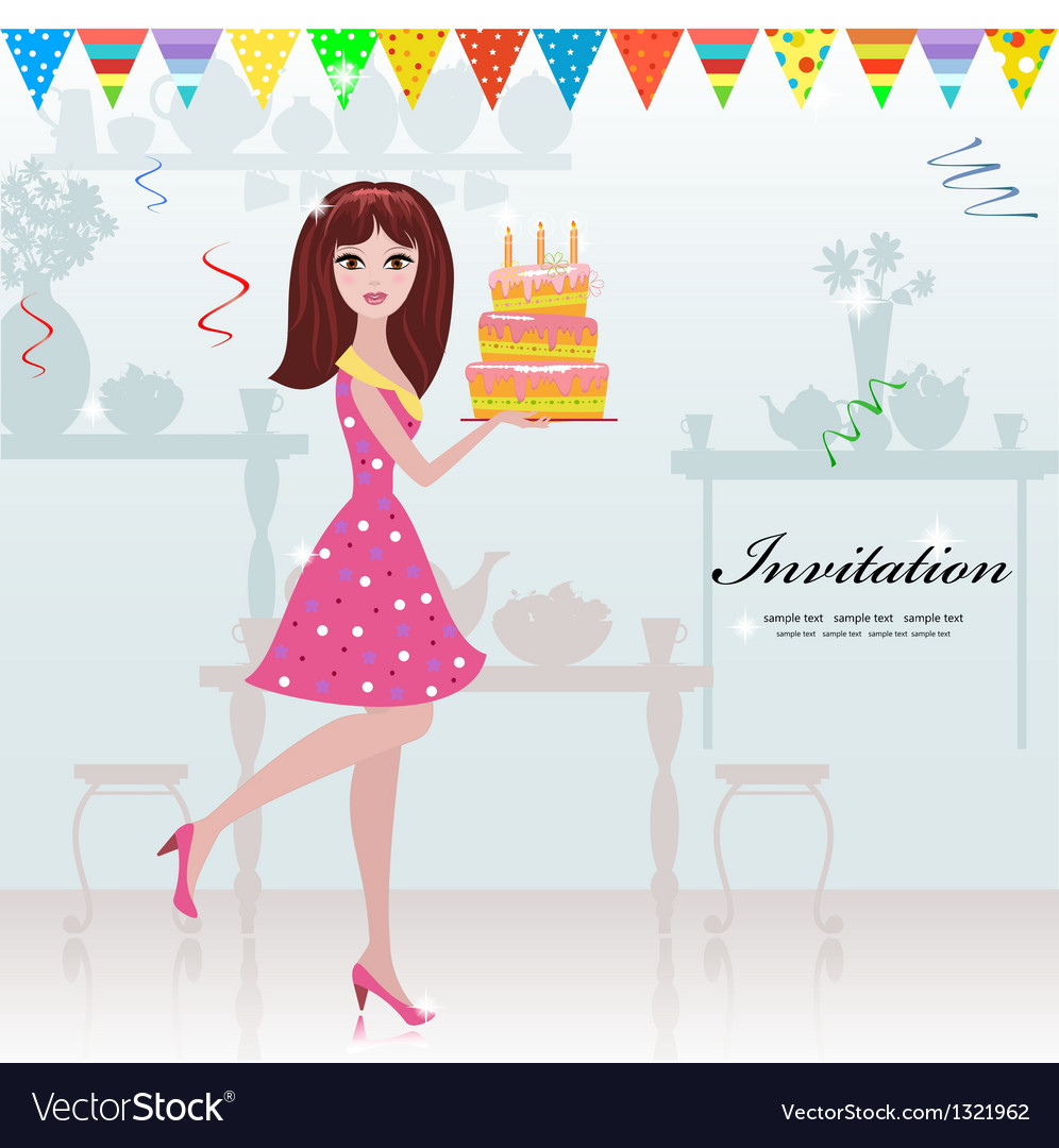 Girl birthday cake card vector