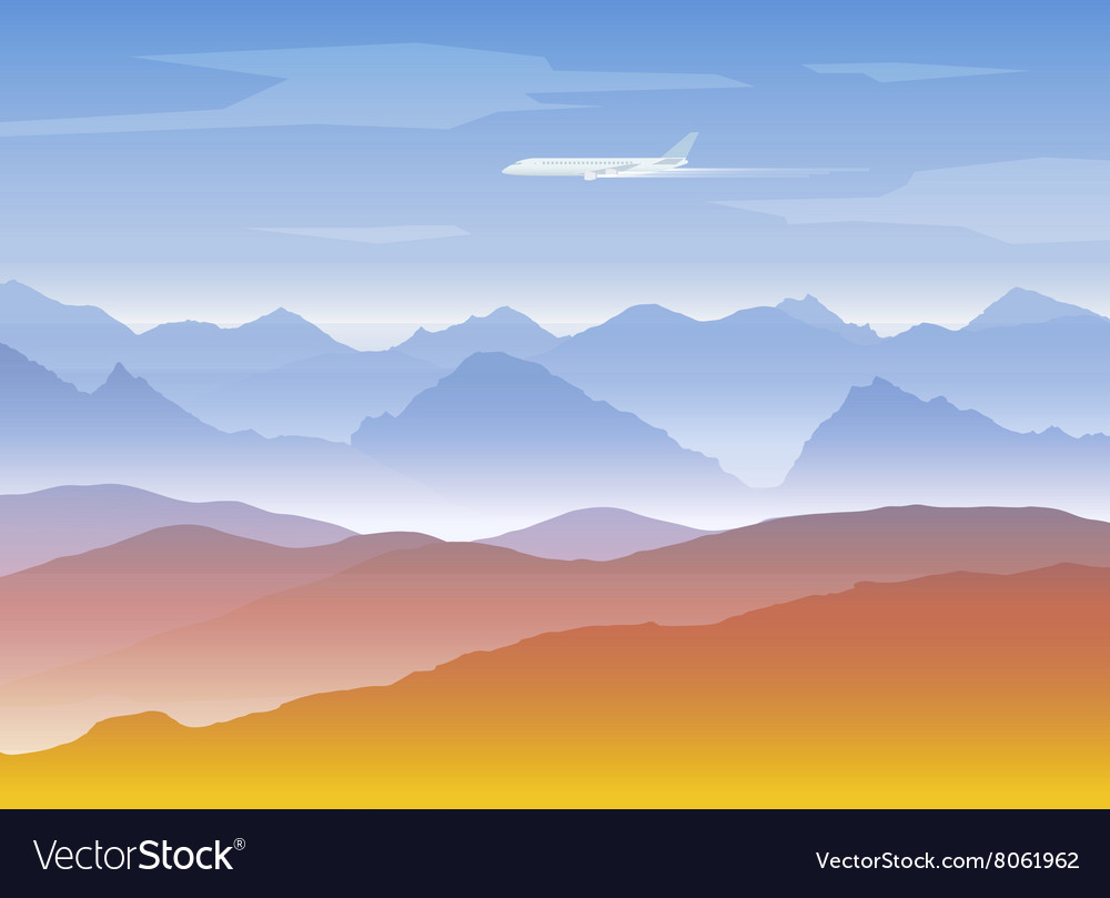 Mountains peaks background with plane vector