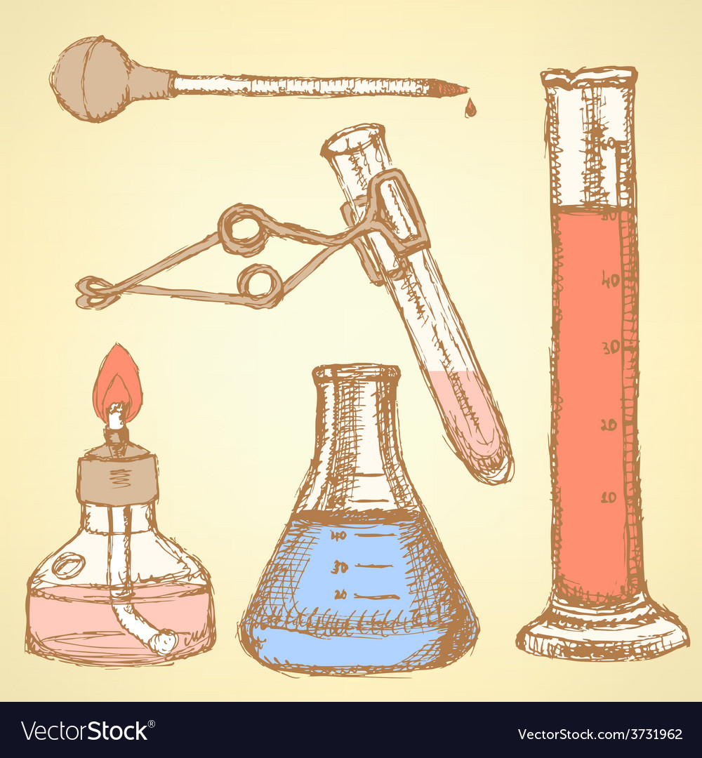 Sketch chemical set in vintage style vector