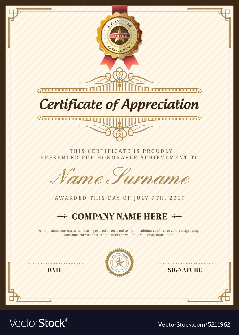 Vintage retro frame certificate background design vector