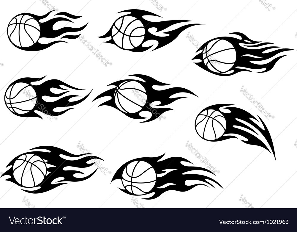 Basketball balls with fire flames vector