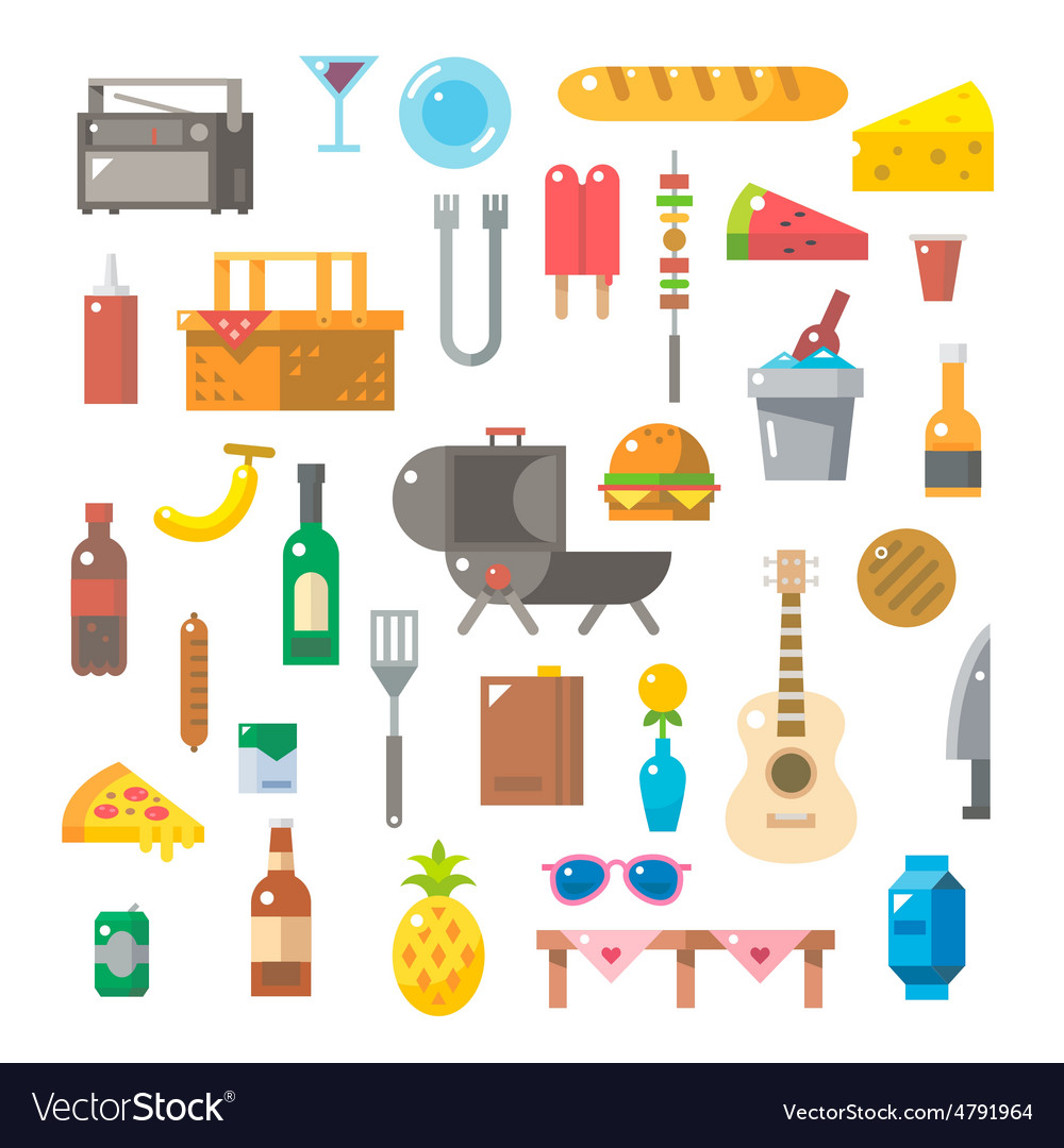 Flat design of picnic items set vector