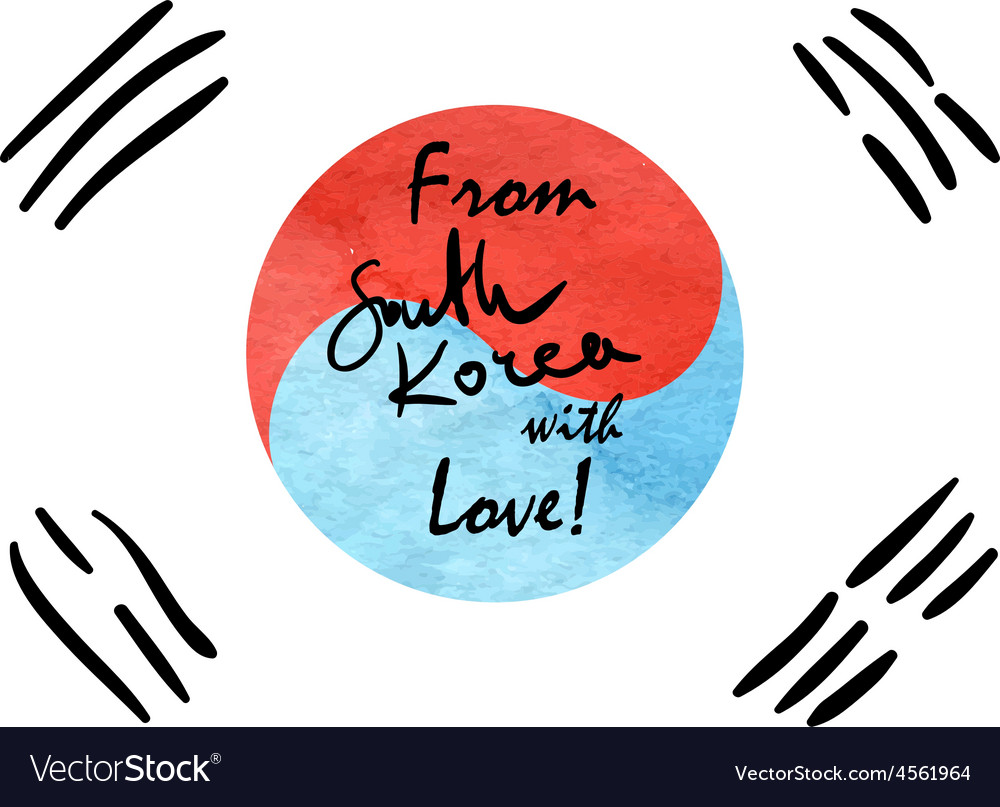 South korea flag sketch vector