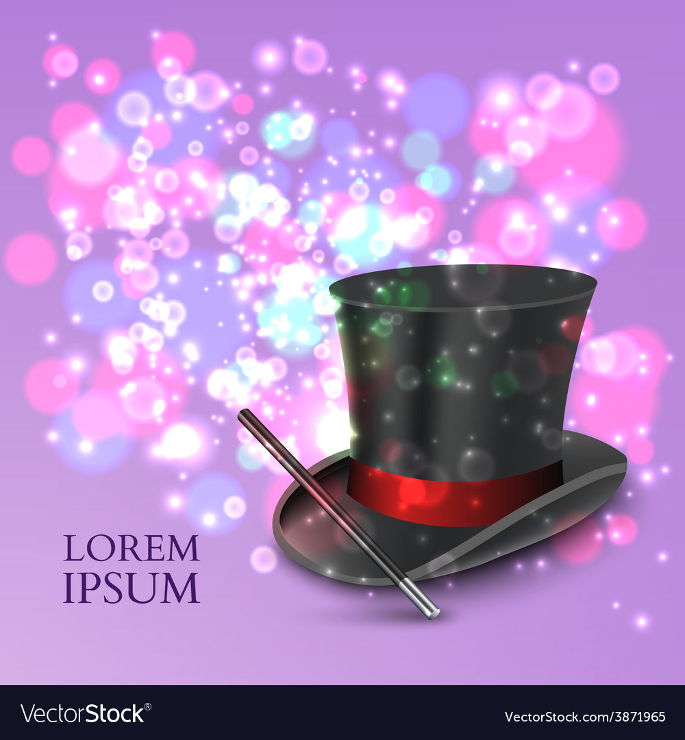 Magician top hat with magic particles vector