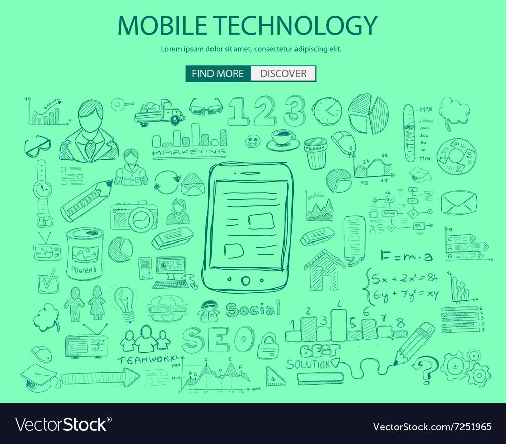Mobile technology concept with doodle design style vector