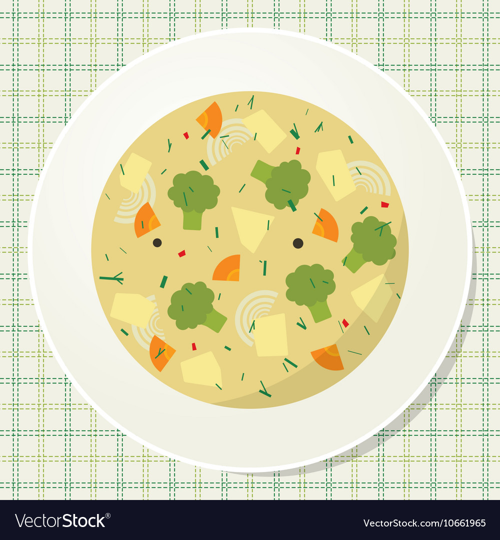 Plate of vegetarian broccoli soup on the table vector