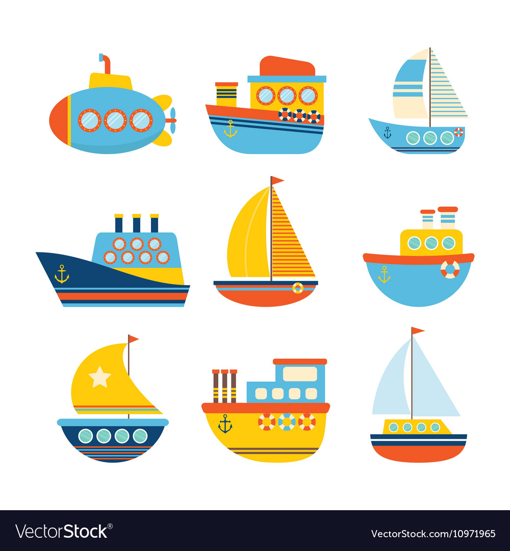 Set of sea transport different kind of boats vector