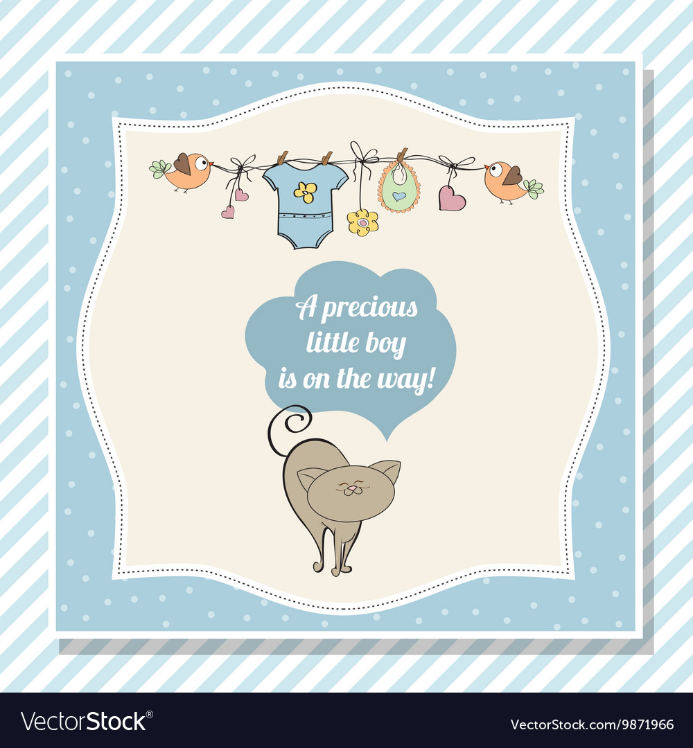 Baby boy shower card with little cat vector