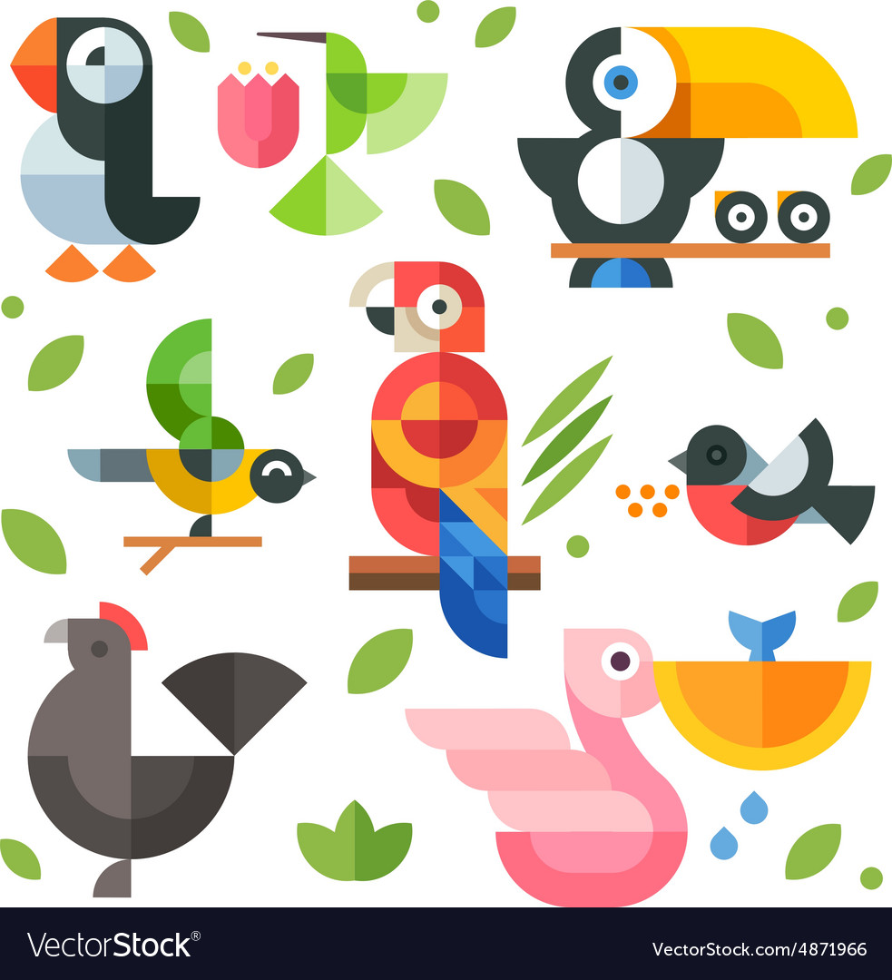 Magic birds and chicks vector