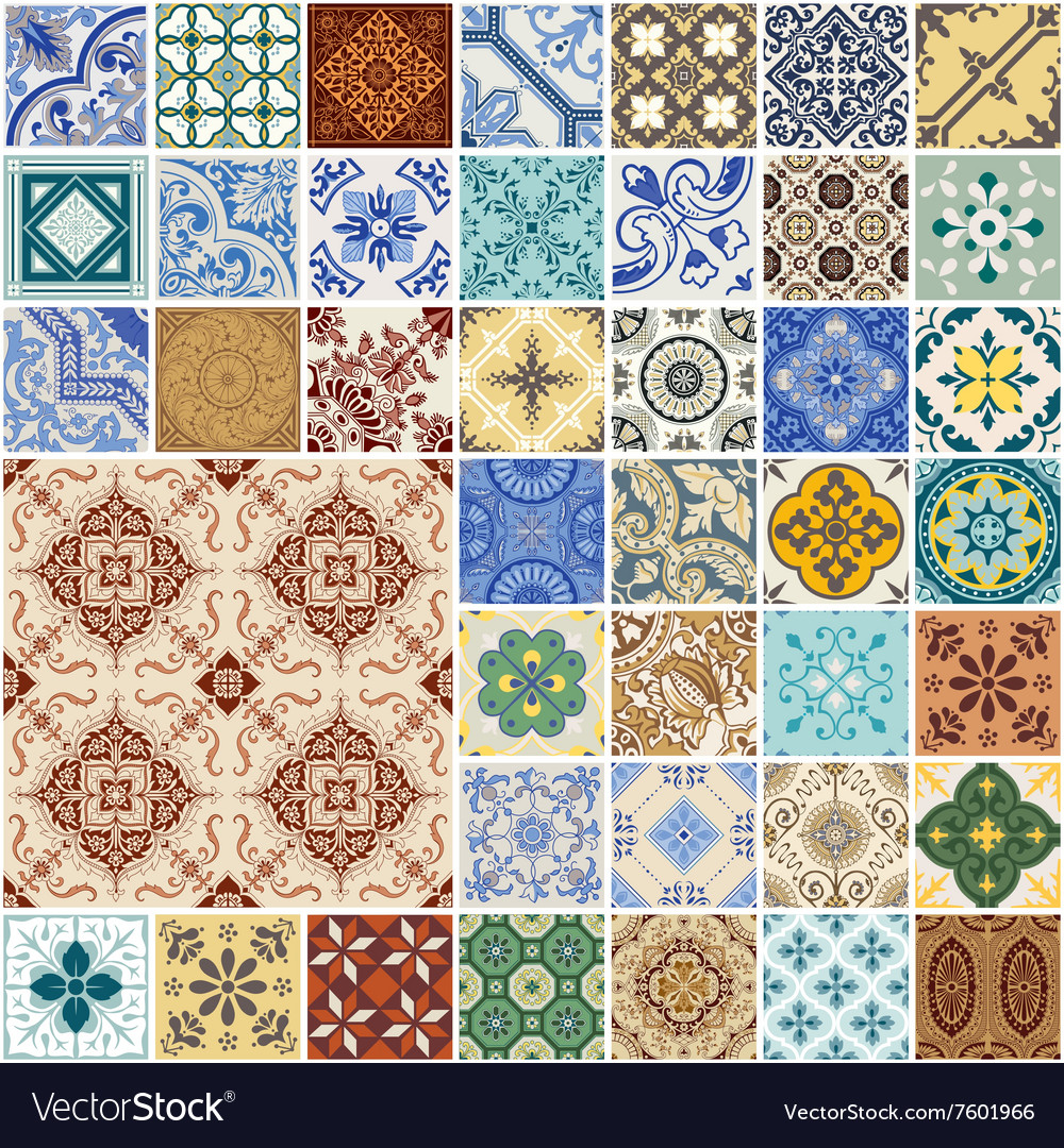 Seamless patterns set  spain and moroccan tiles vector