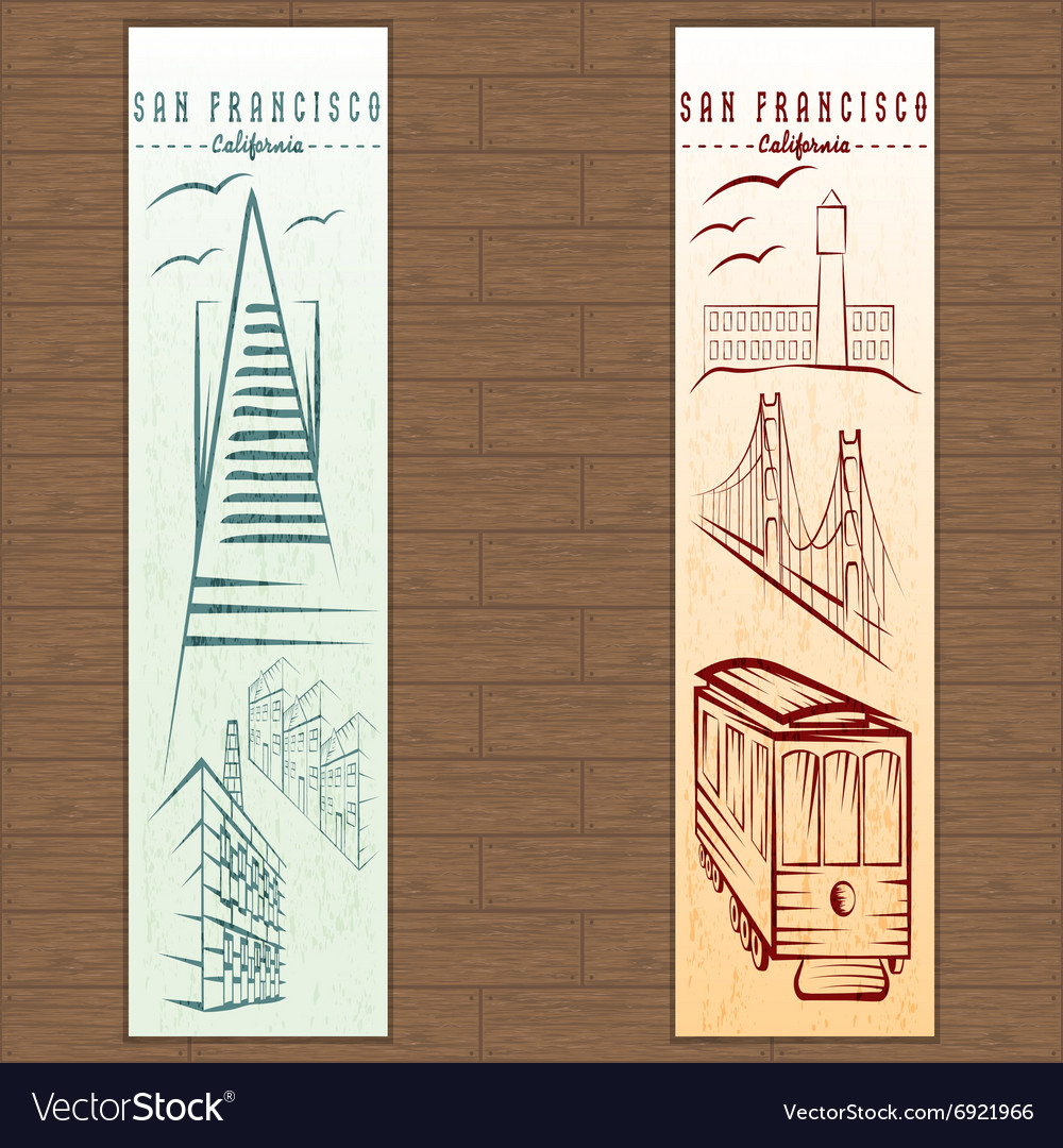 Two vertical banners on san francisco theme vector