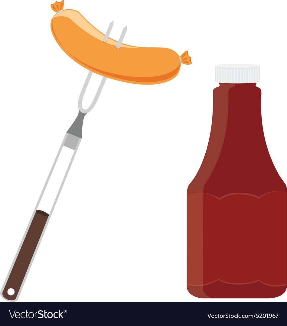 Ketchup and sausage vector