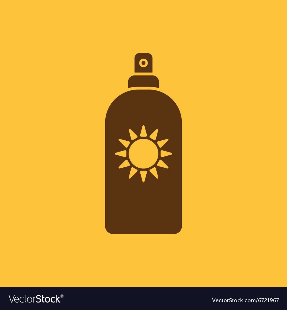 Sun cream icon sunscreen symbol flat vector