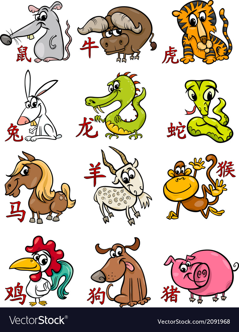 Chinese zodiac horoscope signs set vector