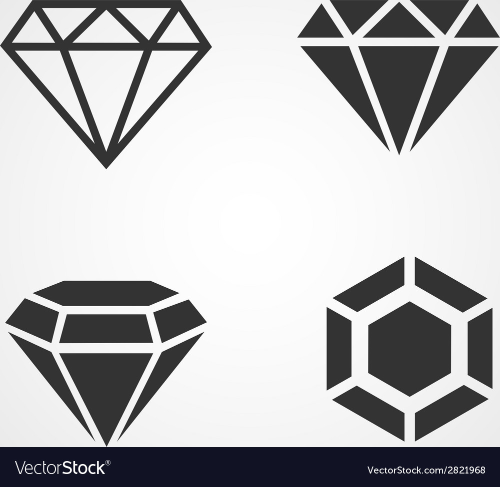 Diamond icons set flat design vector