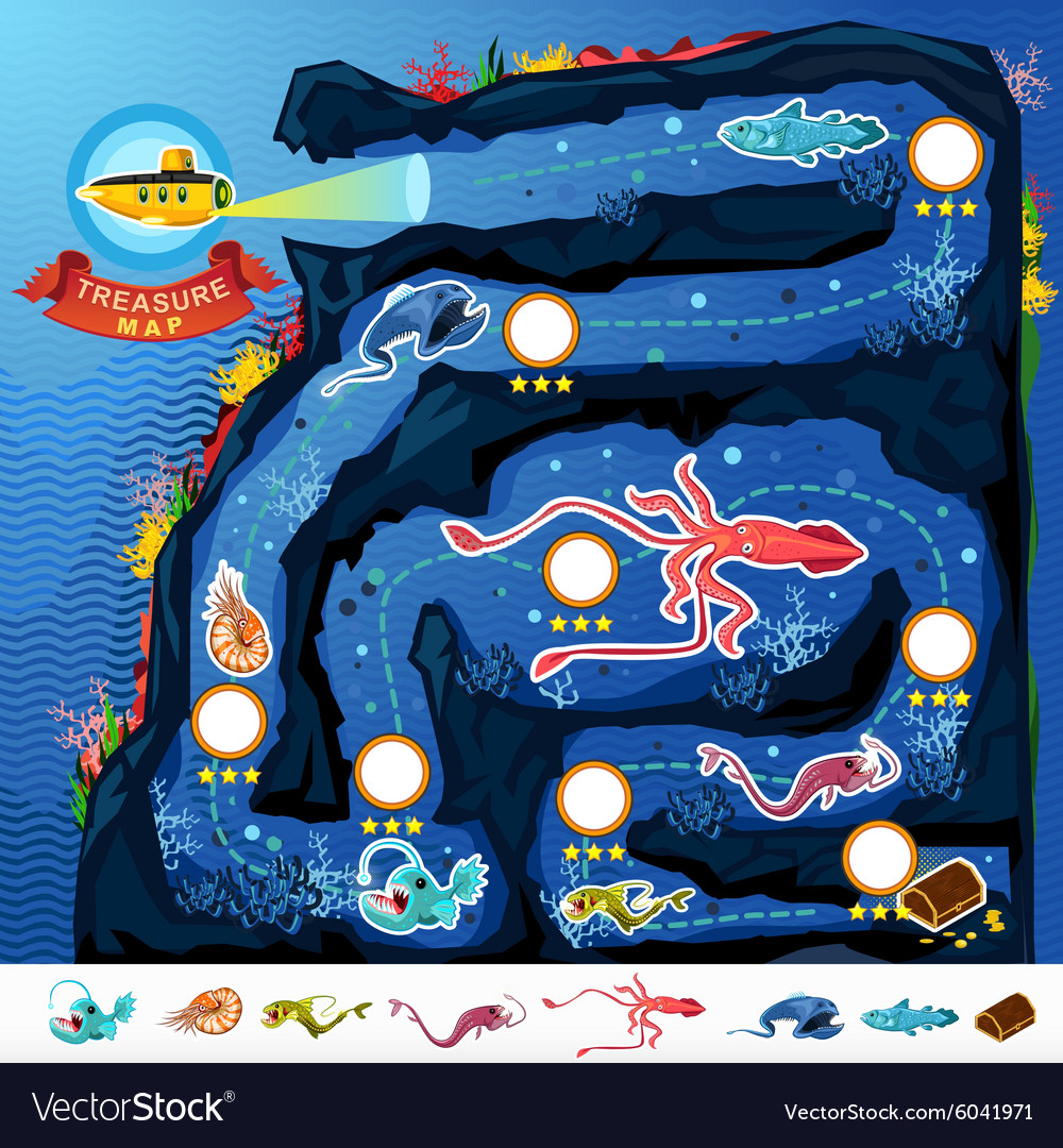 Deep sea exploration treasure game map vector